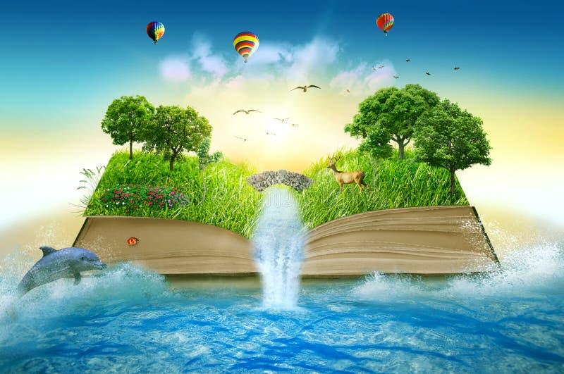 A mágica da ilustração abriu o livro coberto com a cachoeira das árvores de grama