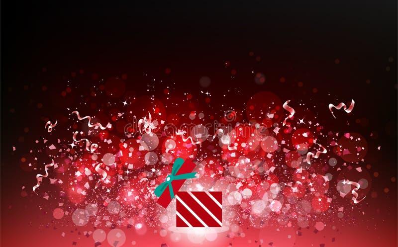 Mágica do tema do feriado da estação do Natal do vermelho, sagacidade da explosão das estrelas ilustração do vetor