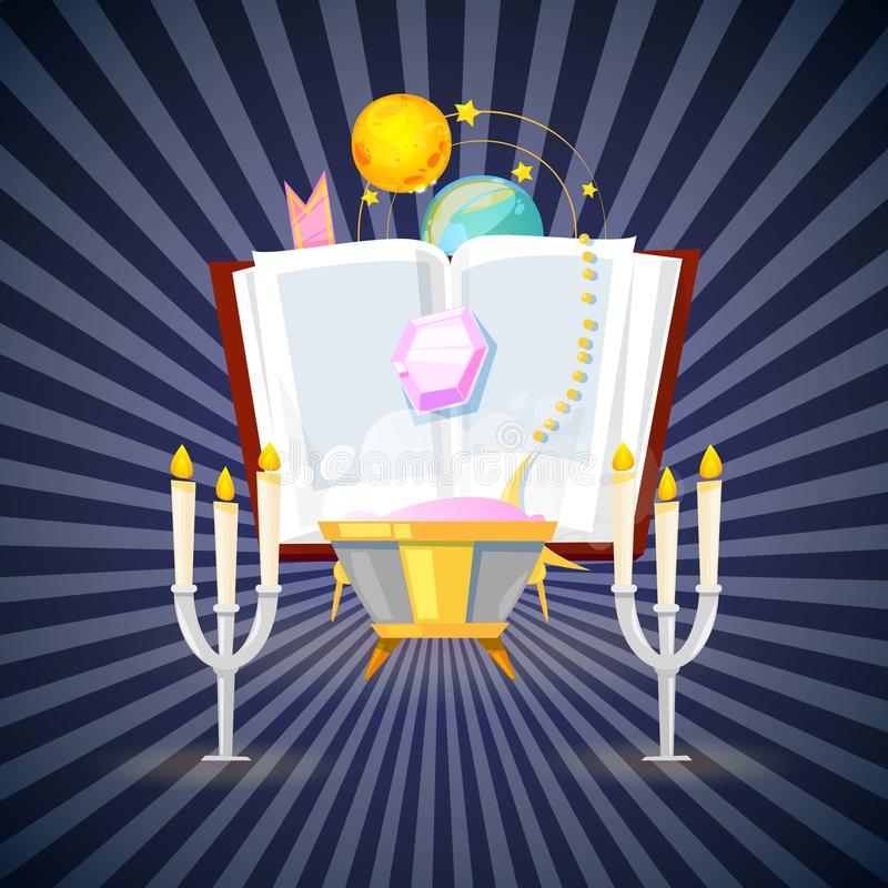 Mágica e coleção do feiticeiro dos artigos para moldar uma ilustração do vetor da bandeira do fundo do período mágico Acessórios  ilustração royalty free
