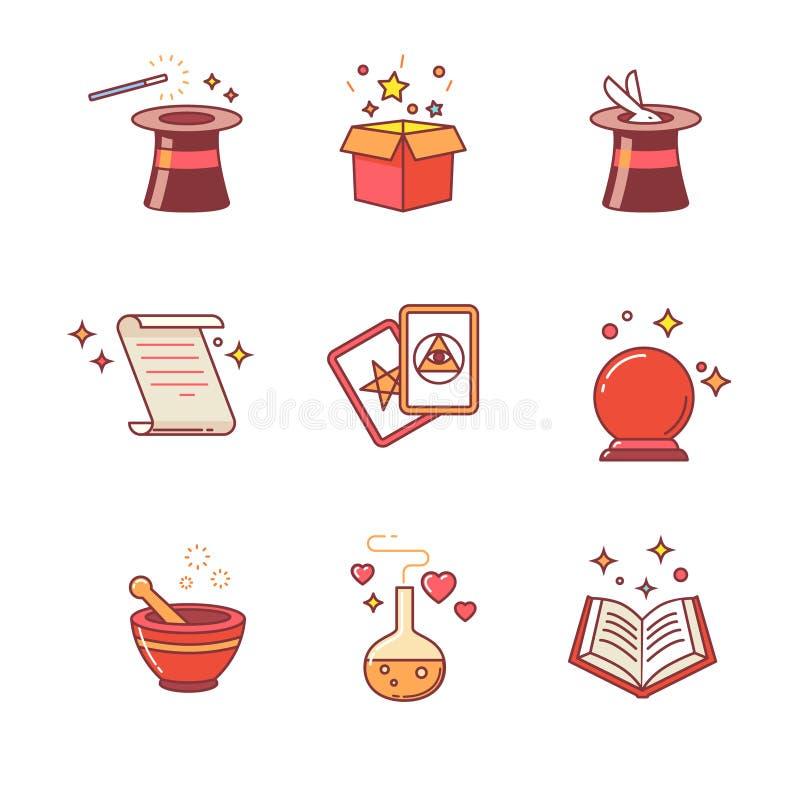 Mágica e ferramentas do mágico ilustração do vetor