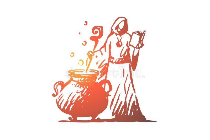 Mágica, feiticeiro, fermentação, conceito da poção Vetor isolado tirado mão ilustração stock