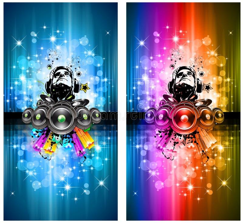 A mágica ilumina o insecto do disco com DJ ilustração do vetor