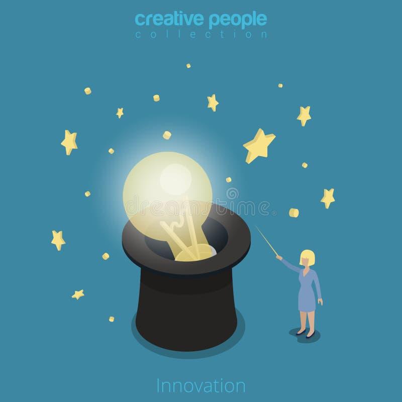 Mágica isométrica lisa do chapéu da lâmpada da mulher da inovação 3d ilustração do vetor