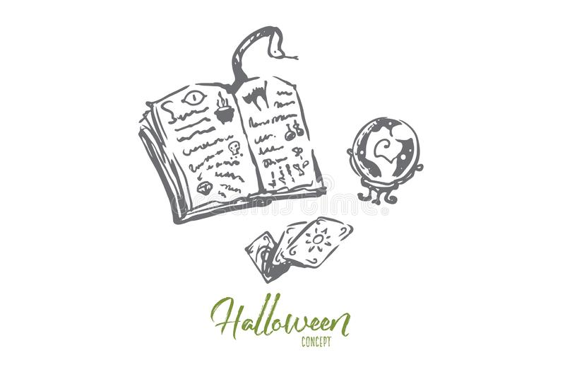 Mágica, livro, Dia das Bruxas, feriado, conceito da serpente Vetor isolado tirado m?o ilustração do vetor
