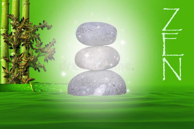 A mágica natural dos seixos empilhou a maneira do zen em um fundo verde com bambu e na folha em uma cama da água ilustração royalty free