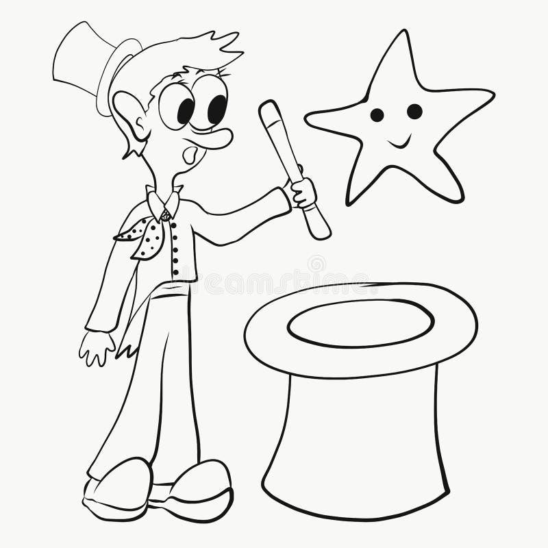 Mágico, chapéu e estrela colorindo, engraçados ilustração royalty free