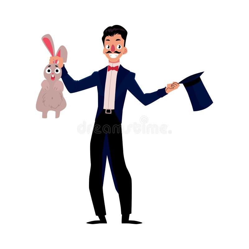 Mágico, coelho de conjuração do ilusionista fora do chapéu, executor do artista ilustração do vetor