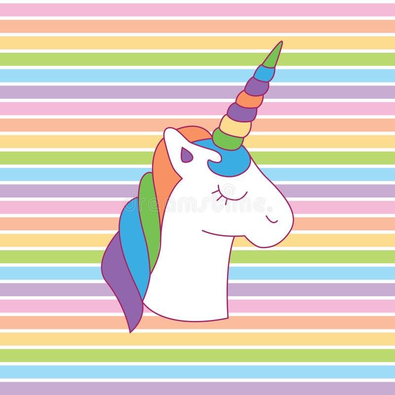 Mágico colorido da cabeça do unicórnio do arco-íris ilustração royalty free