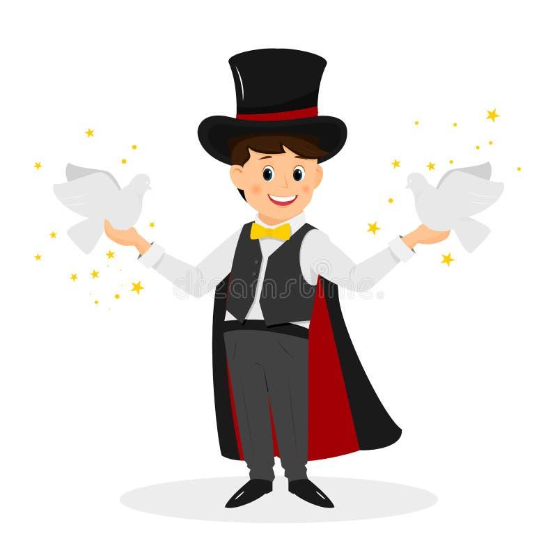 Mágico com chapéu e as pombas brancas ilustração royalty free