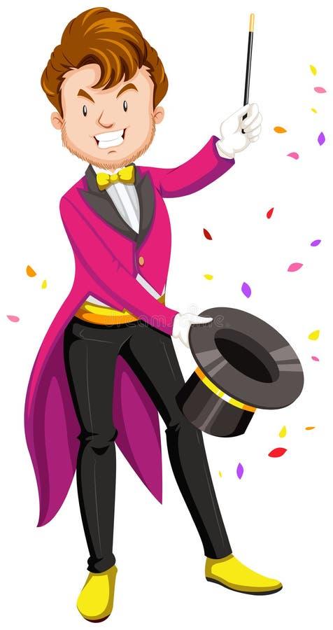 Mágico com chapéu e varinha ilustração royalty free