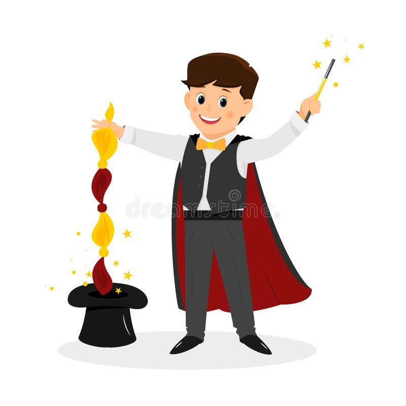 Mágico com chapéu e varinha da mágica ilustração royalty free