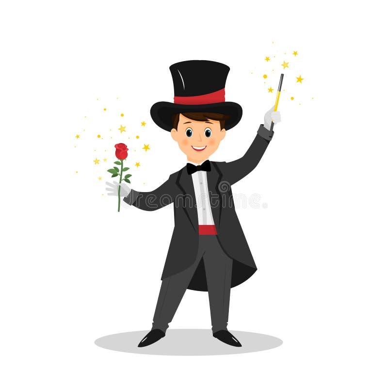 Mágico com chapéu e varinha da mágica ilustração stock