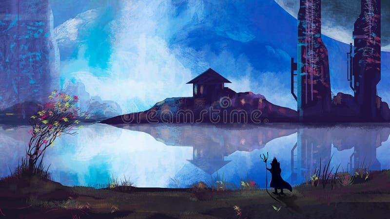 Mágico com cidade da ficção científica e rio, pintura digital ilustração stock