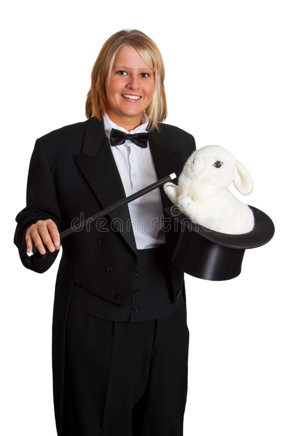 Mágico com coelho imagem de stock