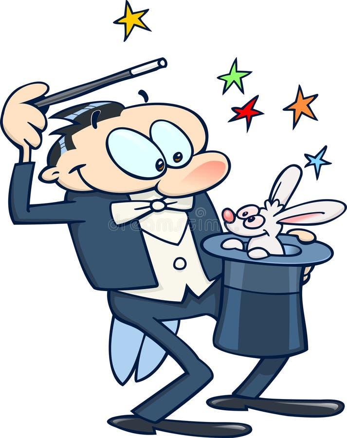 Mágico com coelho ilustração do vetor