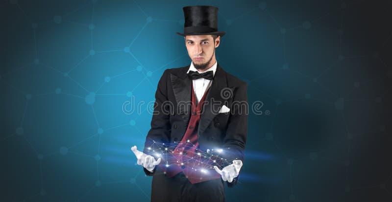 Mágico com conexão geométrica em sua mão ilustração stock