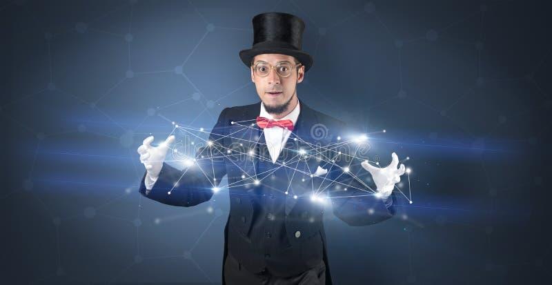 Mágico com conexão geométrica em sua mão foto de stock royalty free