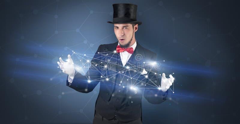 Mágico com conexão geométrica em sua mão fotografia de stock