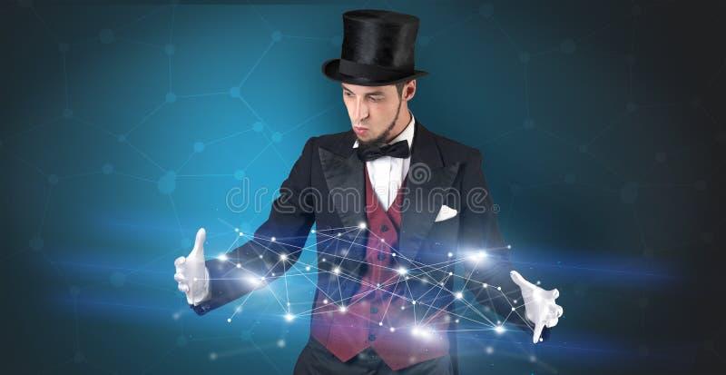 Mágico com conexão geométrica em sua mão imagem de stock royalty free