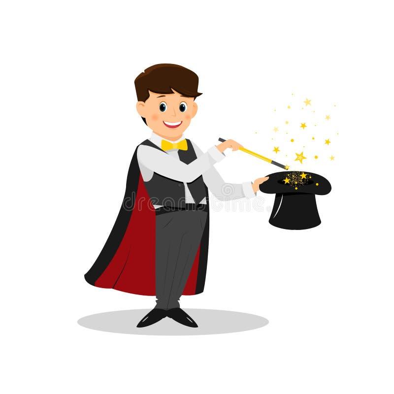 Mágico com estrelas e a varinha mágica ilustração stock