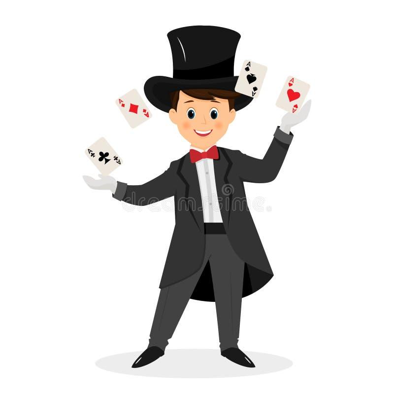 Mágico com os cartões do chapéu e de jogo ilustração royalty free