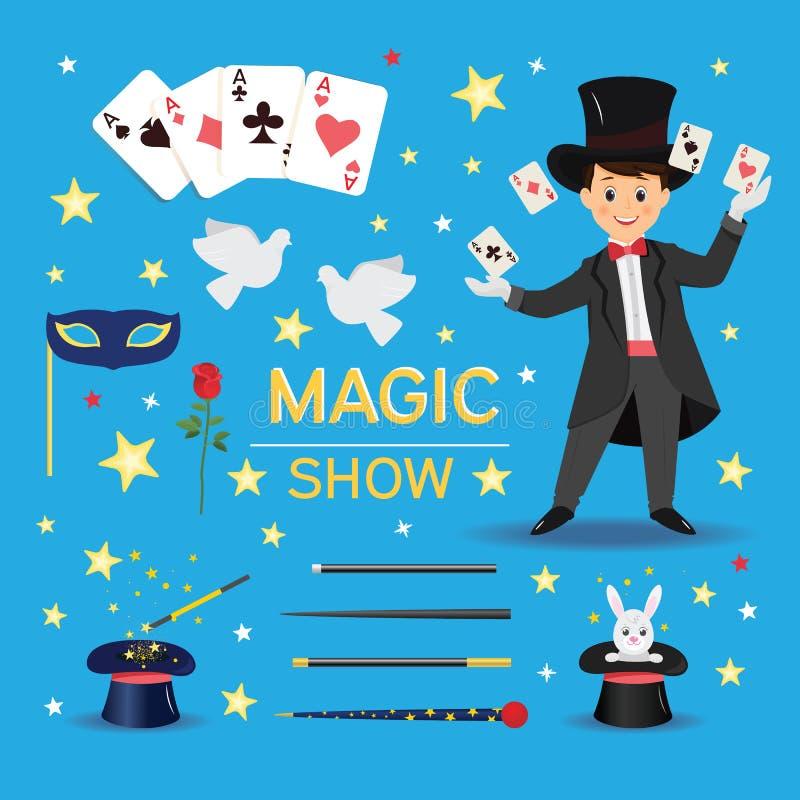 Mágico com os cartões do chapéu e de jogo ilustração stock