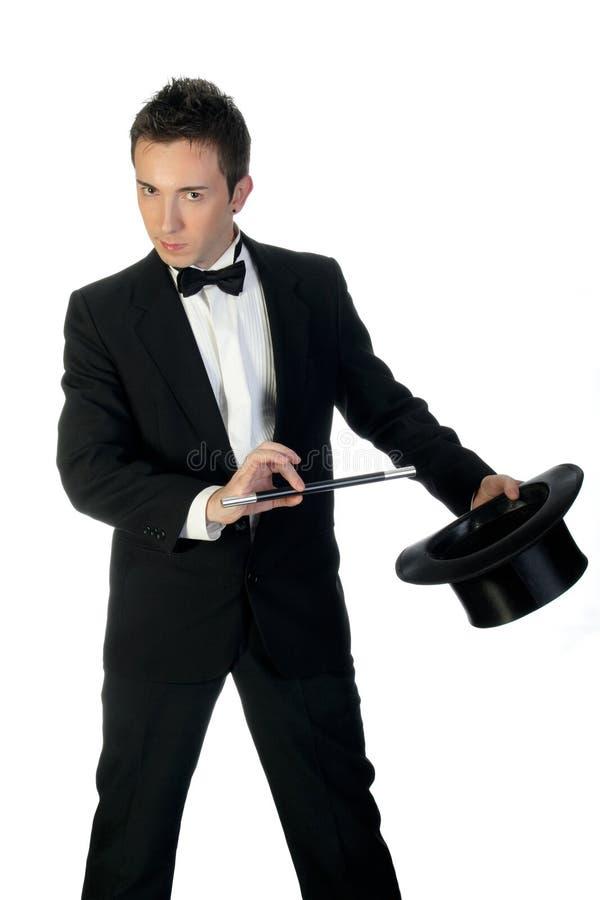 Mágico com varinha e chapéu foto de stock