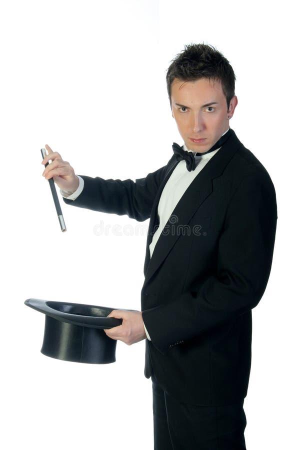 Mágico com varinha e chapéu foto de stock royalty free