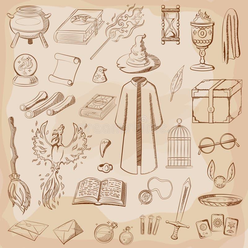 Mágico das coisas: feiticeiro, chapéu, livro mágico, rolo, poção, vassoura, bola de cristal, envoltório, espada, copo, anel ilustração do vetor