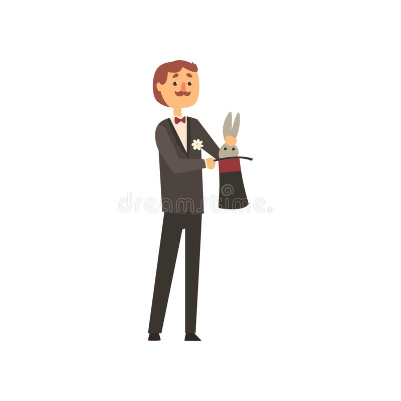 Mágico de Moustached que puxa o coelho do chapéu do cilindro Caráter do homem dos desenhos animados no traje preto elegante com b ilustração stock