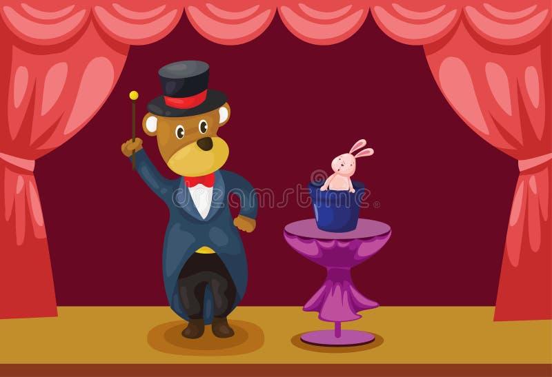 Mágico do urso que mostra na fase ilustração do vetor