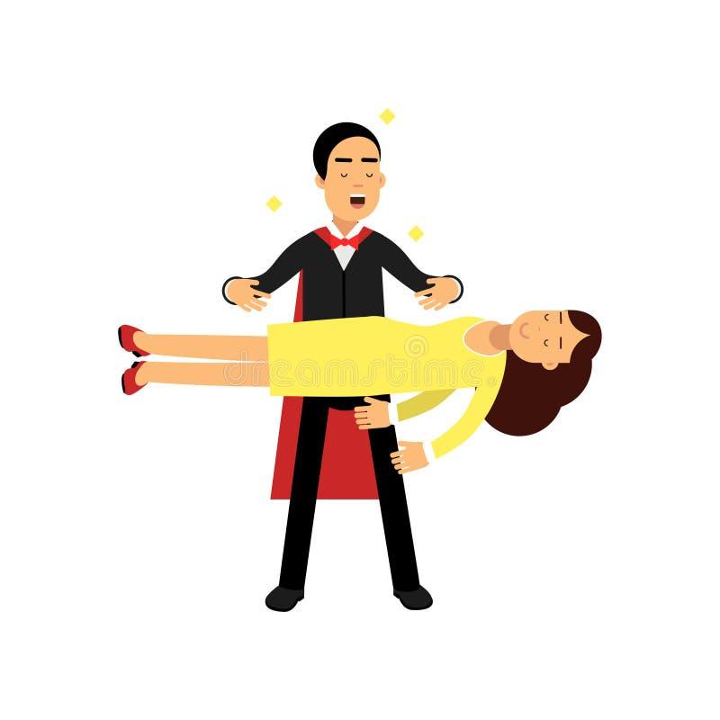 Mágico em um terno preto elegante que executa a levitação que flutua o truque mágico, ilustração do vetor do executor de circo ilustração royalty free