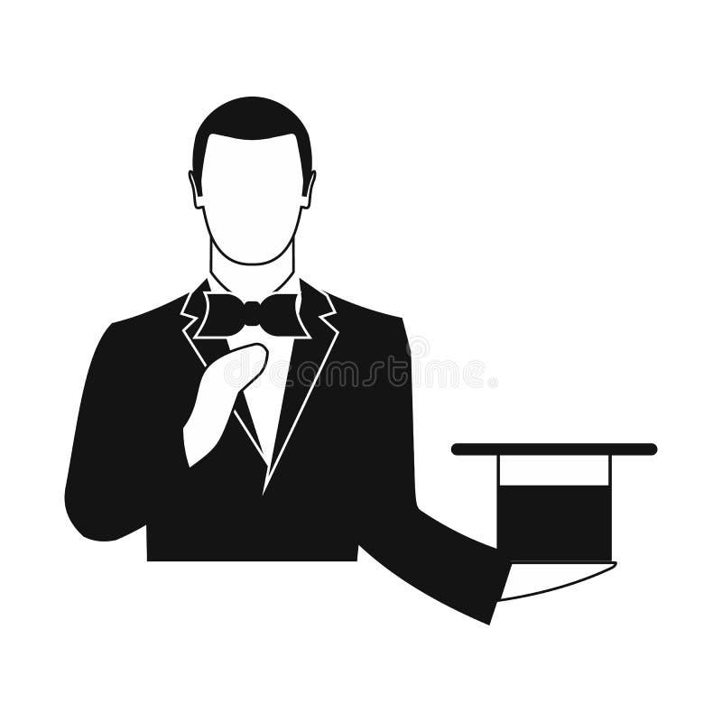 Mágico em um terno preto que guarda um chapéu alto vazio ilustração royalty free