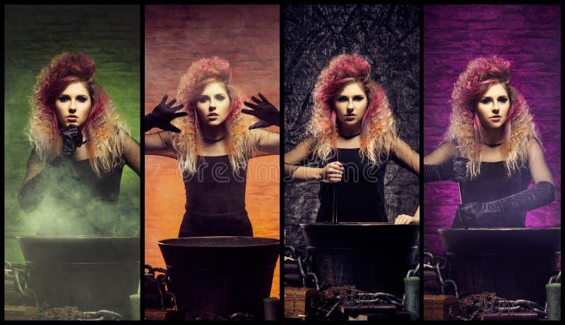 Mágico fêmea bonito que faz a feitiçaria imagem de stock royalty free