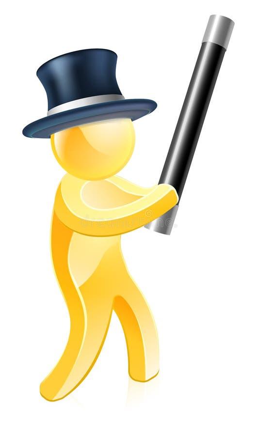 Mágico no chapéu alto com varinha ilustração royalty free