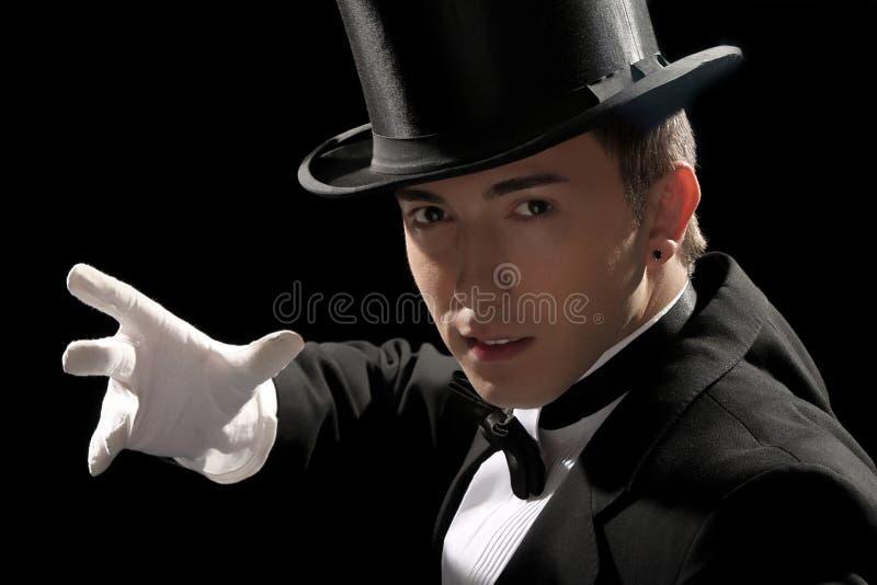 Mágico novo com chapéu elevado imagem de stock royalty free