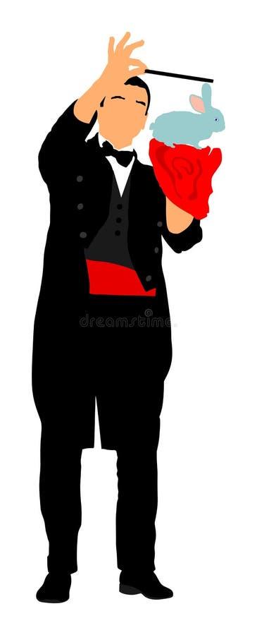 Mágico que executa o truque com o coelho, ilustração do vetor
