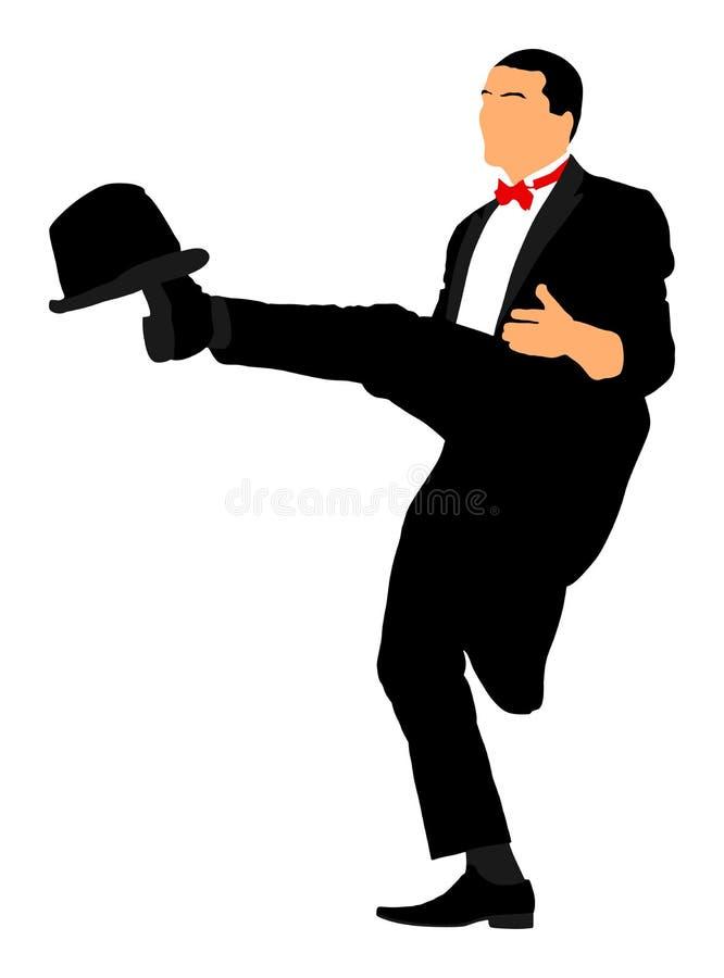 Mágico que executa o truque com a ilustração do chapéu alto ilustração do vetor