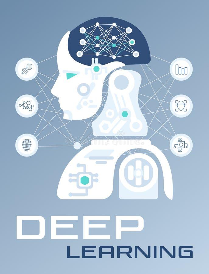 Máquina abstracta y profundamente aprendizaje, inteligencia artificial ilustración del vector