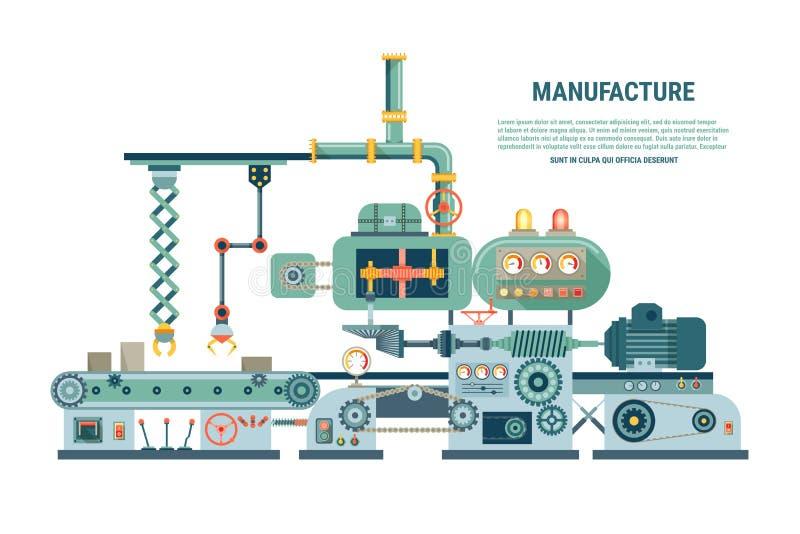 Máquina abstrata industrial no estilo liso Vetor ilustração do vetor