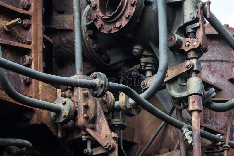 Máquina aherrumbrada vieja detalle oxidado de la maquinaria del metal mecánico envejecido imagen de archivo