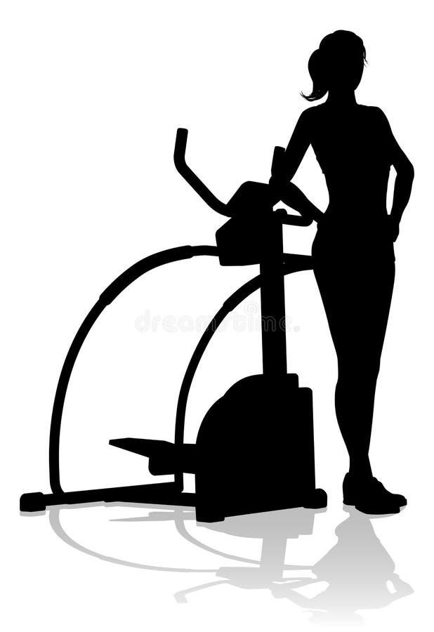 Máquina apta da cruz elíptica da silhueta da mulher do Gym ilustração royalty free
