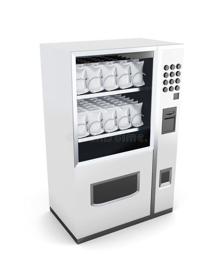 Máquina branca para a venda dos petiscos isolados no fundo branco ilustração stock