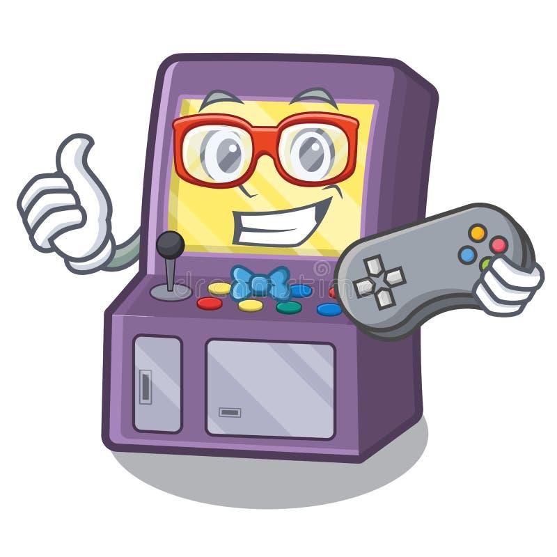 M?quina da arcada do Gamer ao lado da tabela da mascote ilustração royalty free
