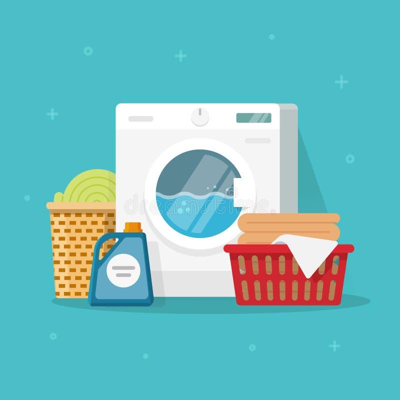 A máquina da lavanderia com roupa de lavagem e o linho vector a ilustração, arruela lisa do estilo da caixa com as cestas da roup ilustração royalty free