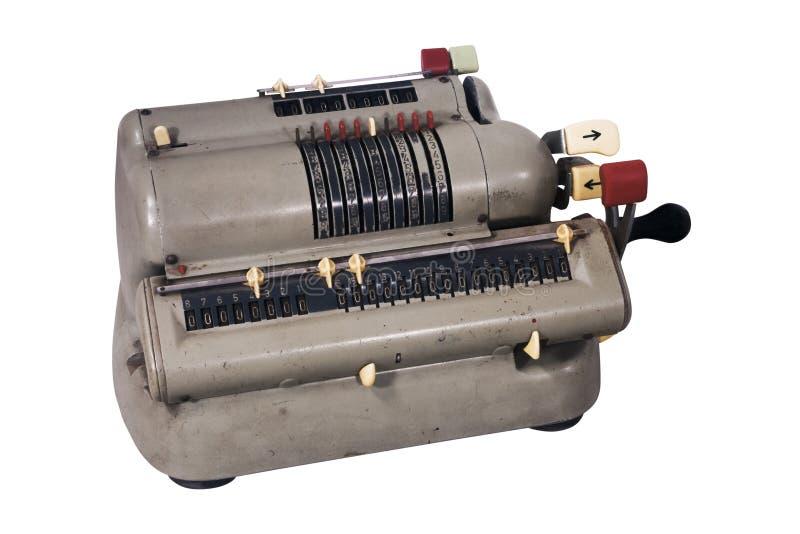 Máquina de adição suja com botões sortidos e interruptores imagens de stock