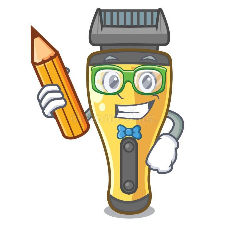 Máquina de afeitar eléctrica del estudiante arriba en tabla de la historieta stock de ilustración