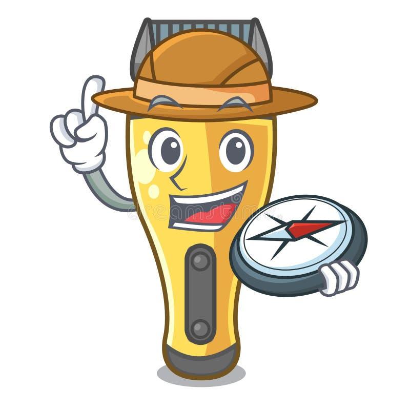 Máquina de afeitar eléctrica del explorador aislada con en la mascota ilustración del vector