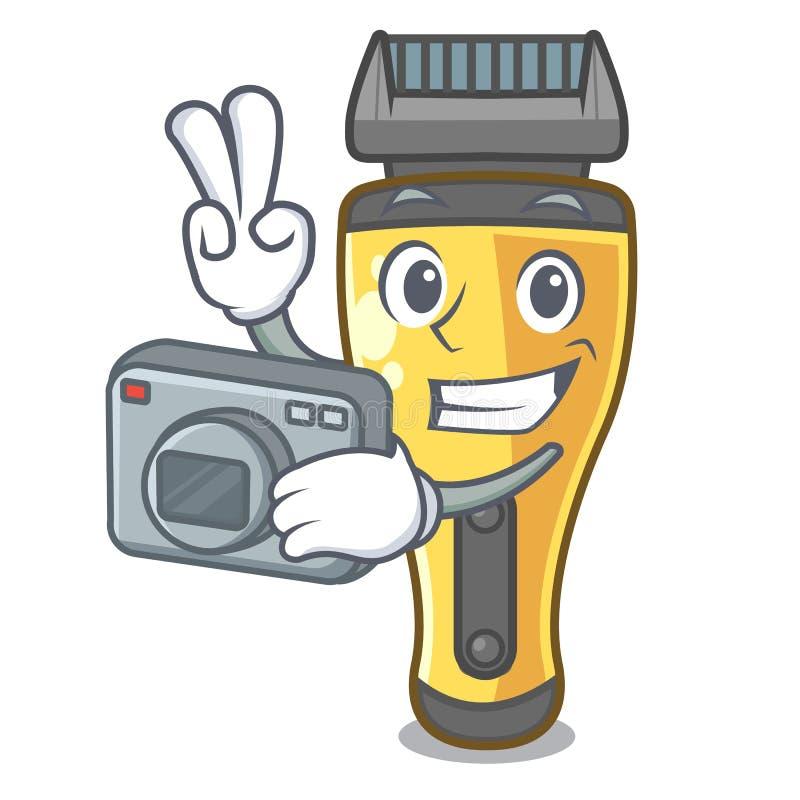 Máquina de afeitar eléctrica del fotógrafo aislada con en la mascota stock de ilustración