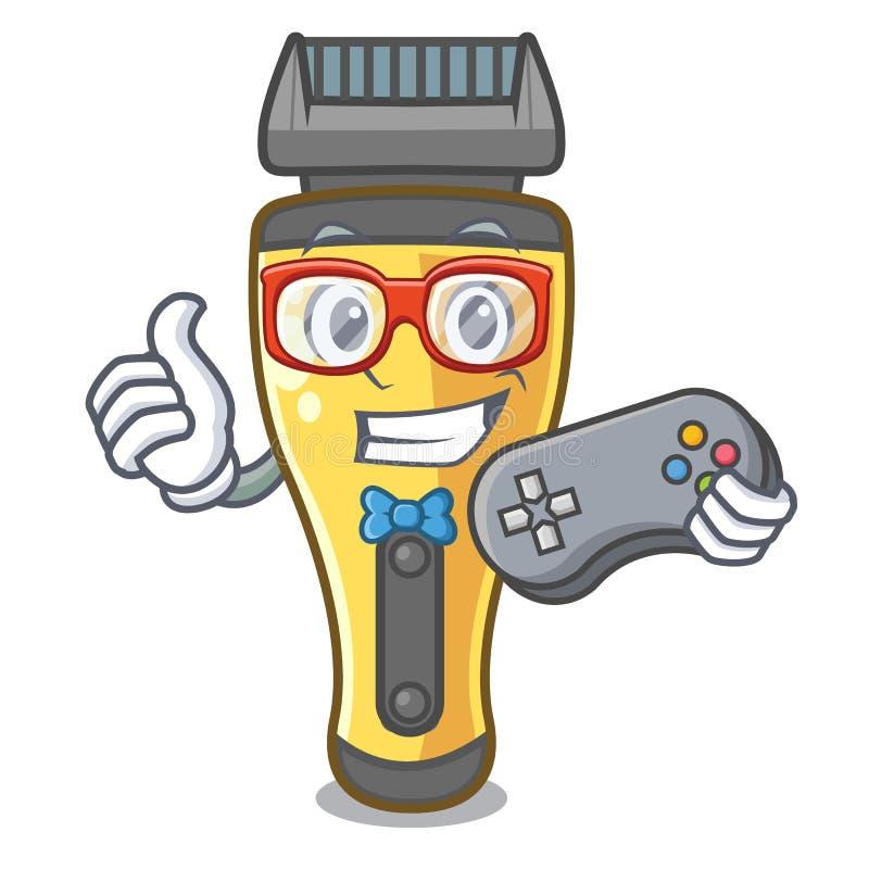 Máquina de afeitar eléctrica del videojugador aislada con en la mascota ilustración del vector